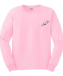 alien with heart and stars pink sweatshirt